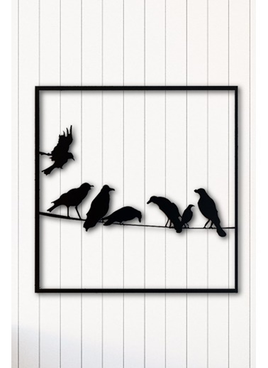 Angemiel Home Kuşlar Metal Duvar Tablosu Siyah